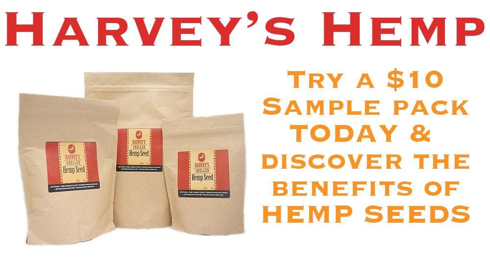 harvey's hemp $10 hemp seed special