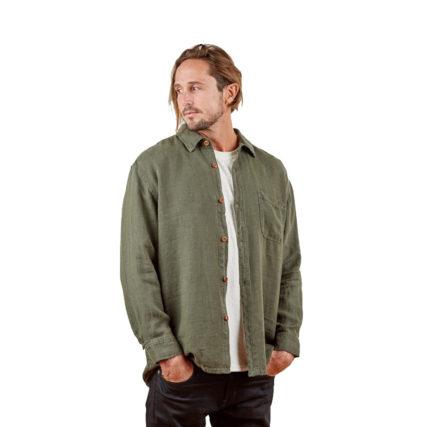 Hemp Clothing Australia - Men's Short Sleeve Shirt Blue