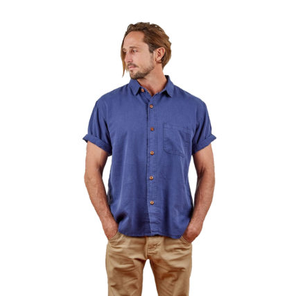 Hemp Clothing Australia - Men's Short Sleeve Shirt Blue