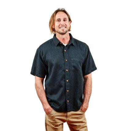 Hemp Clothing Australia - Men's Short Sleeve Shirt Pirate Black