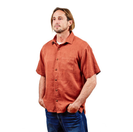 Hemp Clothing Australia - Men's Short Sleeve Button Up Shirt Rustic Brown