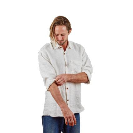 Hemp Clothing Australia - Men's Long Sleeve Button Up Shirt Natural