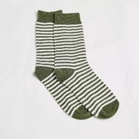 Hemp Clothing Australia - Daily Hemp Socks - Olive Stripe - M 3-6 W 5-8