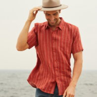 Braintree Australia Men's 100% Hemp Striped Shirt in Red Clay