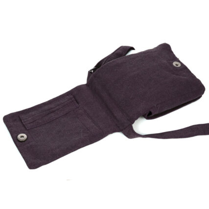 Sativa Metro Hemp Bag in Plum Back Open Pocket