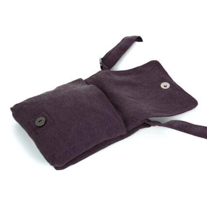 Sativa Metro Hemp Bag In Plum Front Flap Open