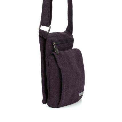 Sativa Metro Hemp Bag In Plum Side Angle