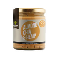 grounded almond butter with chia and hemp
