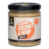 grunded cashew butter with coconut and hemp seeds