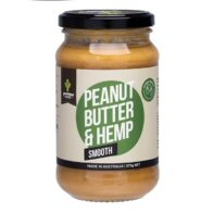grounded peanut butter with hemp seeds