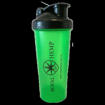 royal hemp protein shaker green and black