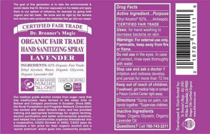 Dr Bronner's - Lavender Organic Hand Sanitizer
