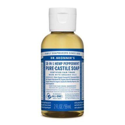 Dr Bronner's - Peppermint 59ml Liquid Castile Soap